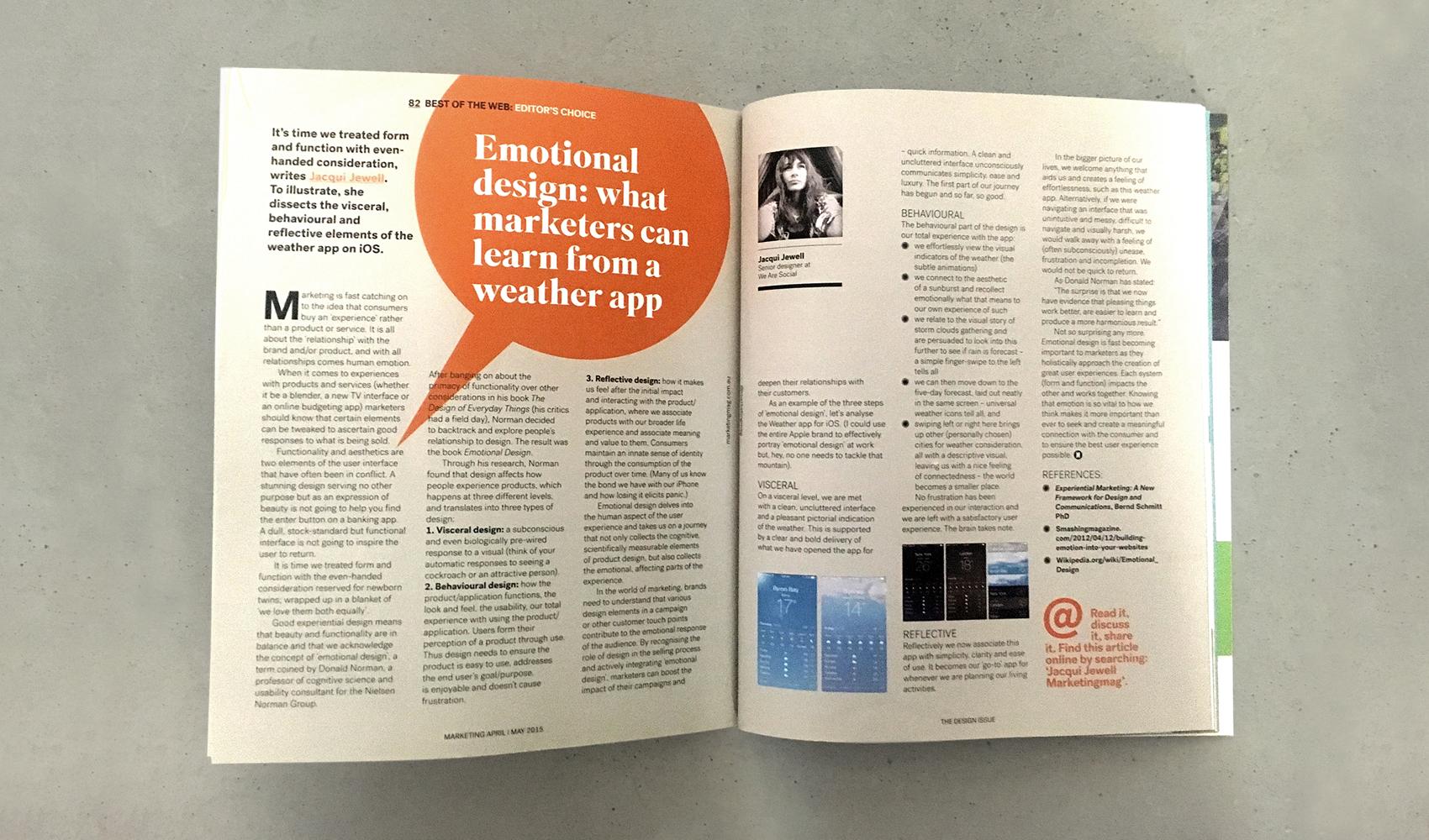 My 'Emotional Design' Article – Marketing Magazine